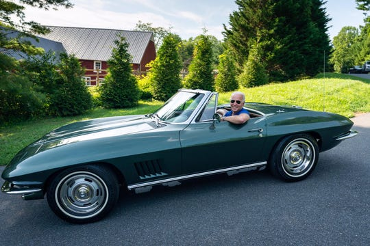 Fromer Vice President and current presumptive presidential nominee Joe Biden poses for a photo in his 1967 Corvette.