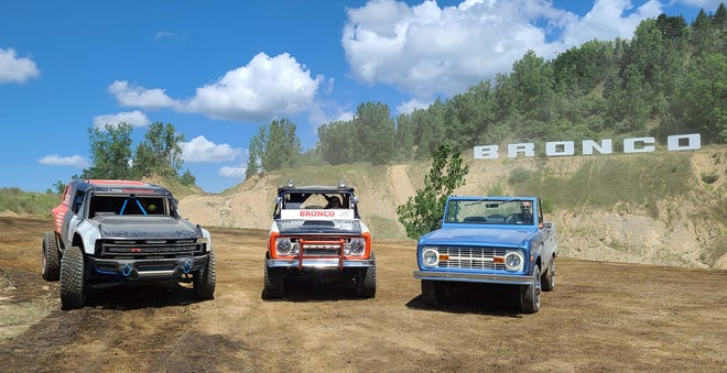 Bronco history includes the 2019 Bronco R Baja racer, left, 1969 Baja winner, and original 1966 Bronco two-door.