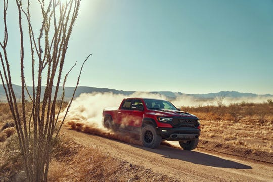 The 2021 Ram 1500 TRX is the top-of-the-line high-performance vehicle with off-road capability.