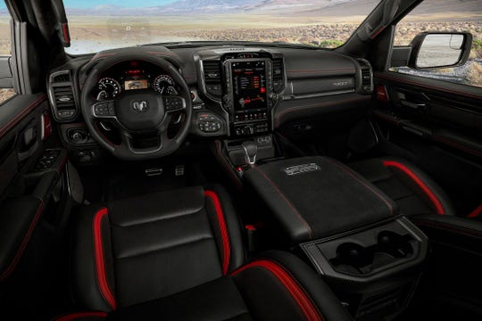 The 2021 Ram 1500 TRX's interior got its inspiration from a demolition hammer picked up from a major hardware store.