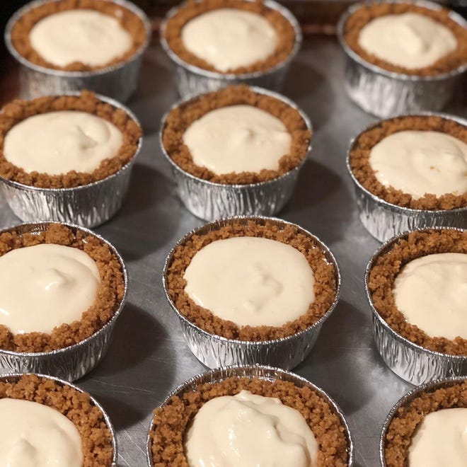 A tray of mini Key lime pie cheesecakes from The Pecking Order on Sanibel.
