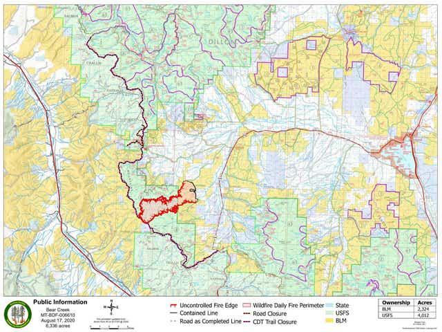 Montana Fire Map 2020 Montana wildfires: Yellowstone warns of Bear Creek fire, other blazes