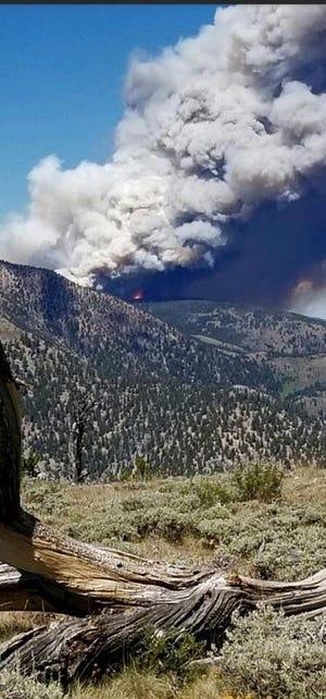 Bear Creek Fire burning in the Beaverhead Mountains southwest of Dillion
