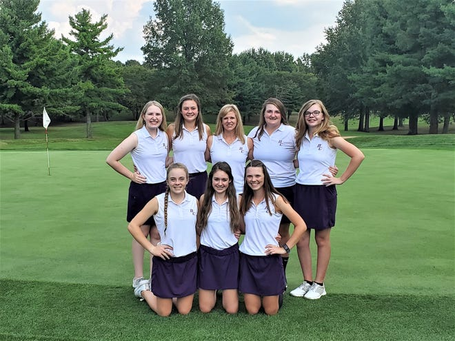 The Bloom-Carroll girls' varsity golf team won the Mid-State League-Buckeye Division Pre-Season Tournament. Members of the team include, front row, left to right: Front Row: Tara Mills, Shayla Edwards and Elly Deibel. Second row L-R: Lauren Wing, Kylie Edwards, coach Hayley Hill, Maddison Snyder and Samantha McCathran. Not pictured were Bella Sands, McKenna Phillips and Sophia Eller.
