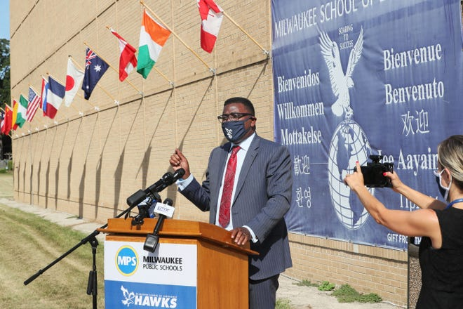 Milwaukee Public Schools Superintendent Keith Posley takes part in a news conference Aug. 17, 2020, at Milwaukee School of Languages. MPS held the news conference there to highlight its virtual start.