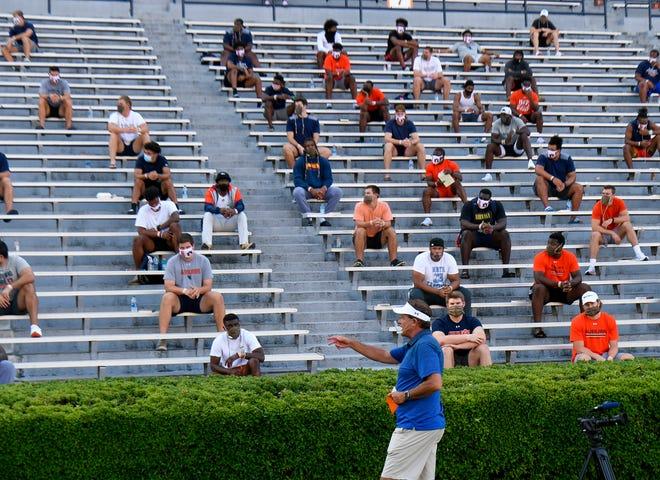 Auburn football coach Gus Malzahn talks to his team inside Jordan-Hare Stadium on Sunday, Aug. 16, 2020 in Auburn, Ala.