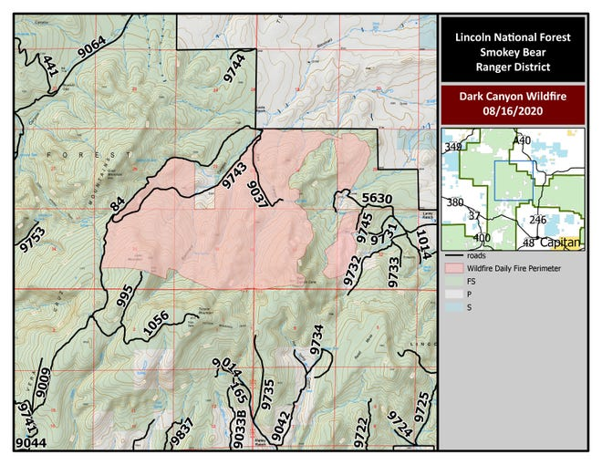 August 17, 2020 map of Dark Canyon Fire.