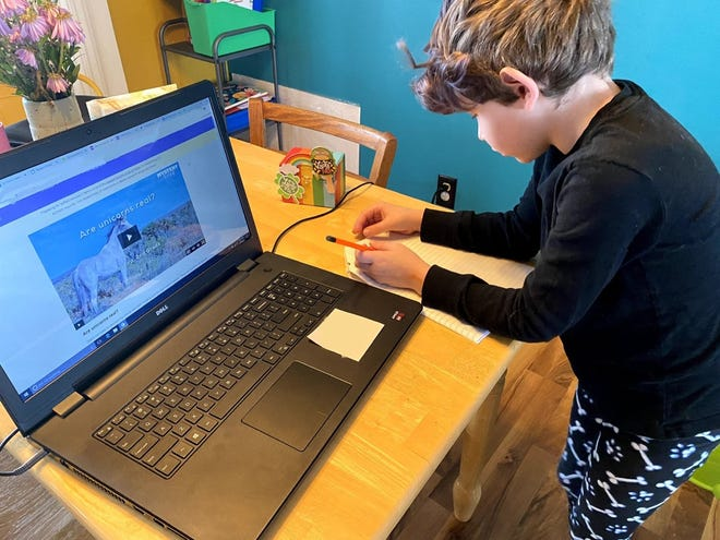 Jake Wesenberg's son learns on his computer last spring amid the coronavirus pandemic