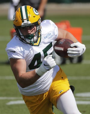 Green Bay Packers fullback John Lovett is shown Monday, August 17, 2020, during training camp in Green Bay, Wis.