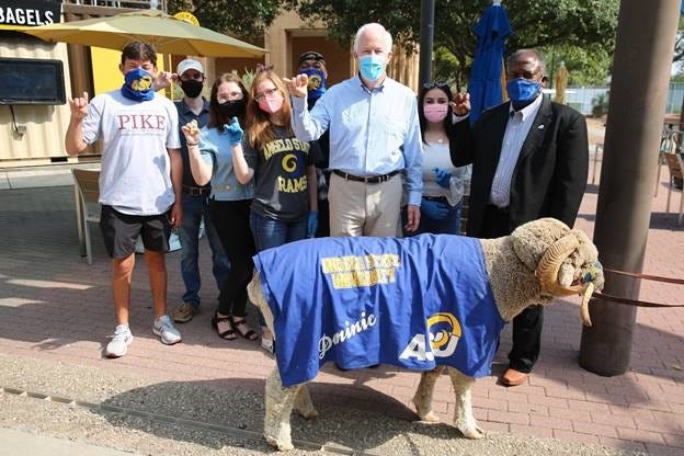U.S. Senator John Cornyn (center) took a tour of Angelo State University on Aug. 17, 2020 where he spoke about CARES funding. He was joined by ASU President Ronnie Hawkins (right).