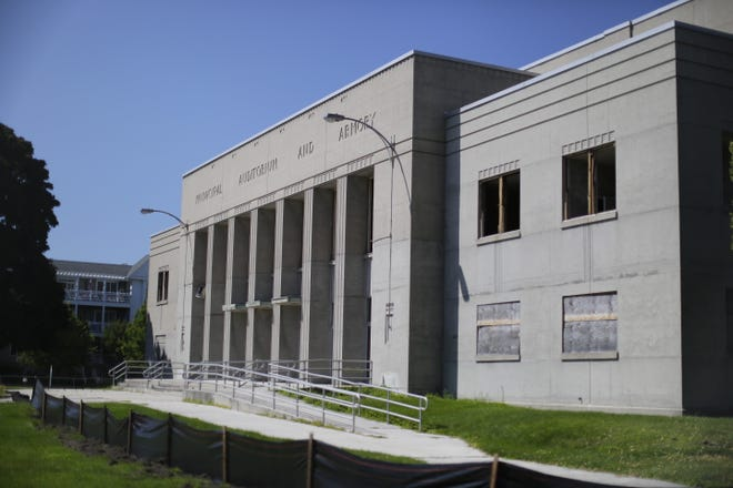 An exterior of the Sheboygan Armory as seen, Thursday, August 6, 2020, in Sheboygan, Wis.