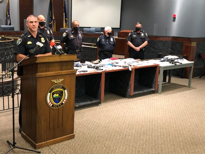 Shreveport police chief Ben Raymond, left, held a news conference on Monday, Aug. 17, 2020, to announce the results of a three-day operation which resulted in numerous arrests and the seizure of guns, drugs, and thousands of dollars.