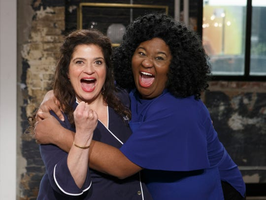 Ariel ÒAriÓ Robinson poses with mentor Alex Guarnaschelli, as seen on Worst Cooks in America, Season 20.