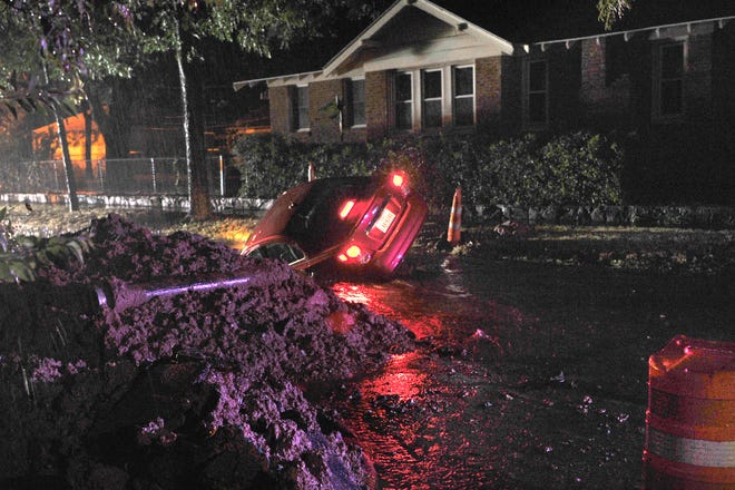 Wichita Falls Police and Firefighters responded to multiple emergency calls Sunday night after storms moved threw the area knocking down trees powerlines, and construction barricades.