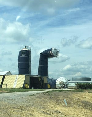Hurricane wind speeds mangled and toppled these statuesque Harvestore silos in Iowa.