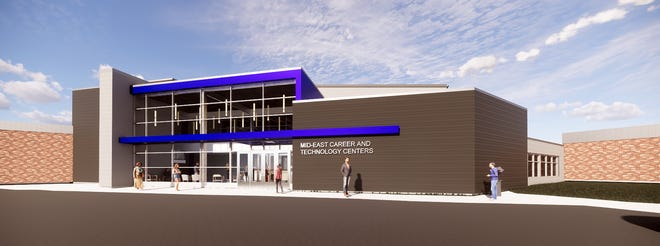 An artist rendering of one of the additions to be built at Mid-East Career and Technology Centers.