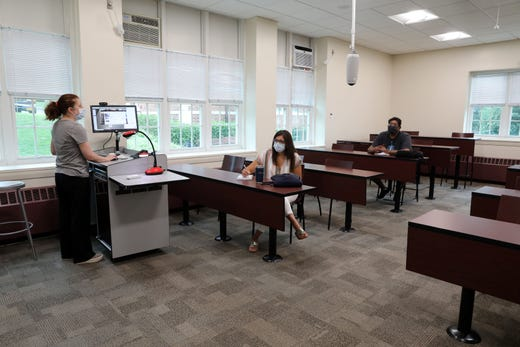 Faculty learn to use new technology for virtual classes at Iona College in New Rochelle, N.Y. on  Aug. 13, 2020. The college has been in remote learning for one week and on Aug. 17 begins in-person classes.