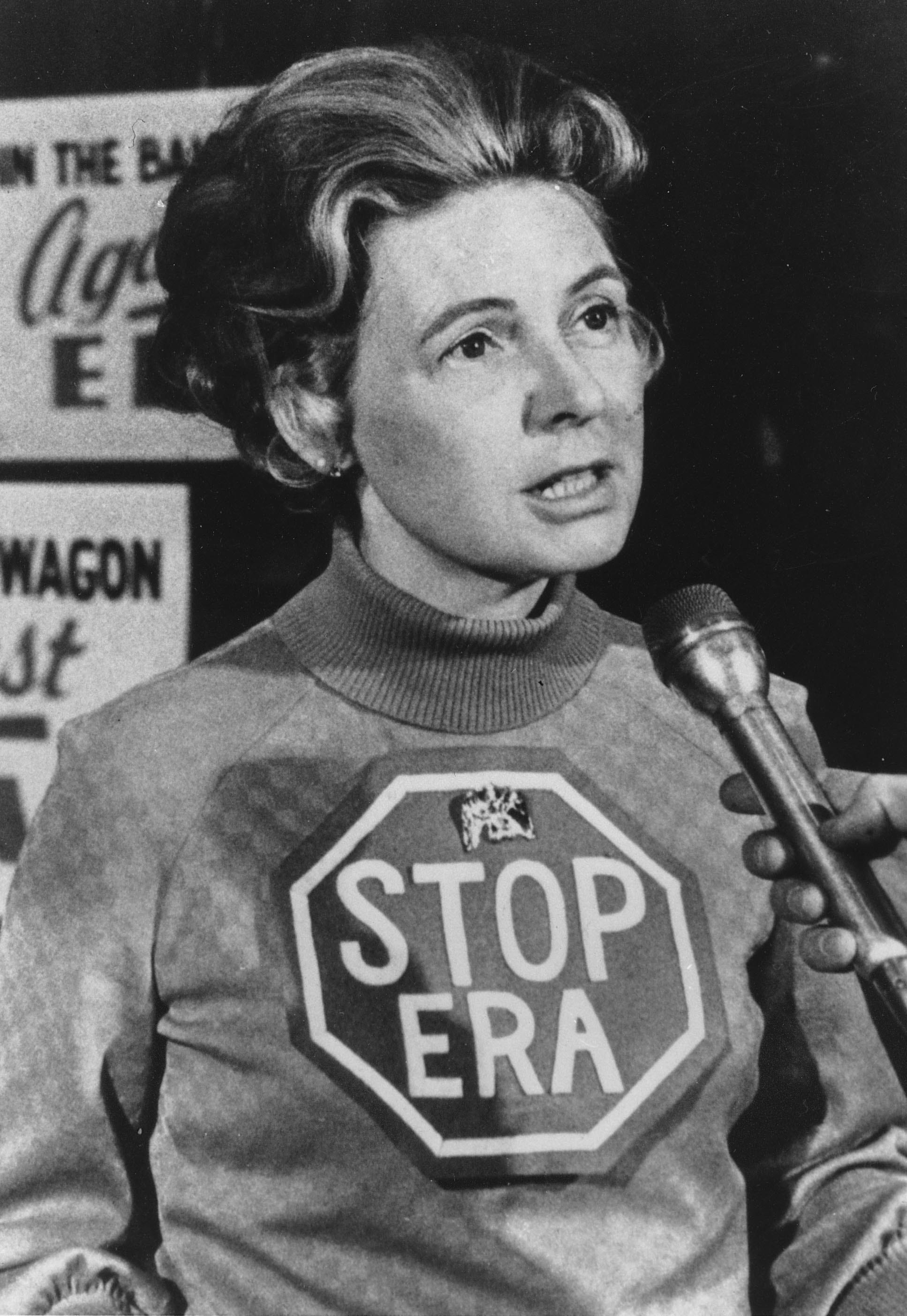 Phyllis Schlafly spearheads a nationwide campaign to stop the Equal Rights Ammenment in January 1977.
