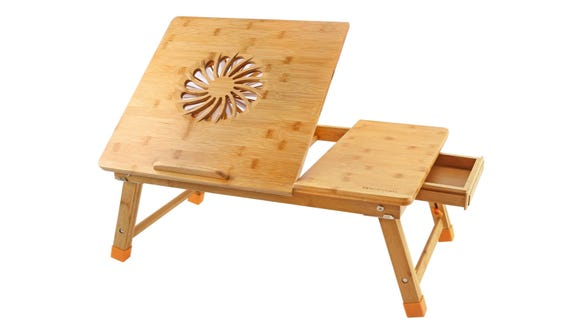 This bamboo desk has a built-in fan and lots of storage space.