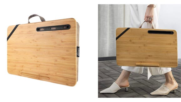 Take this padded bamboo desk anywhere you go.