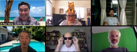 Analyst Liz Miller uses a Snapchat filter of a cat atop her head to keep the video conference more interesting