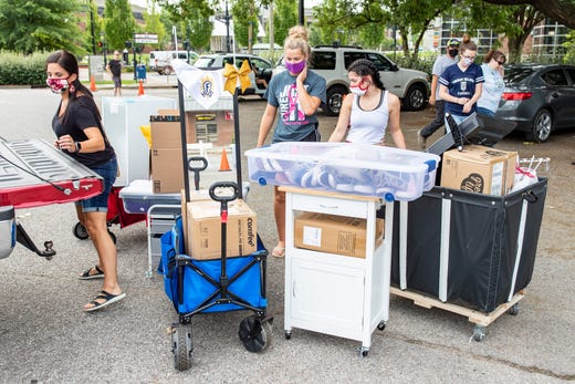 Students begin to move into the dorms on campus at University of Louisville on Aug. 12, 2020 in Louisville, Ky.