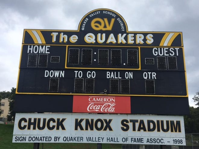 Chuck Knox Stadium on Quaker Valley's high school campus in Leetsdale.