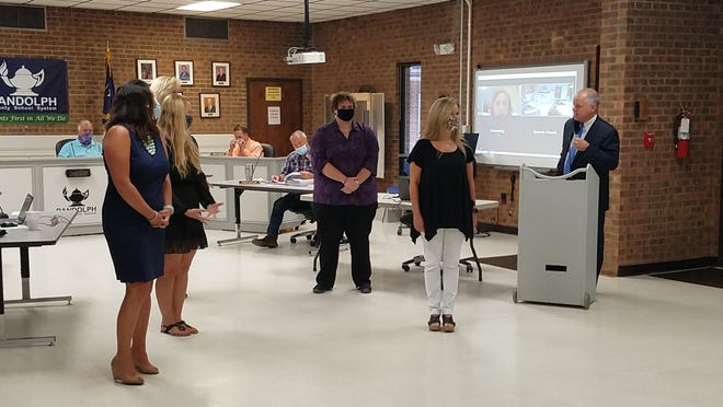 Randolph County Schools System Superintendent Dr. Stephen Gainey announces the 2020 Randolph County Teacher of the Year Monday night. The five finalists were presented to the board during its monthly meeting and Gainey presented the plaque to the winner.