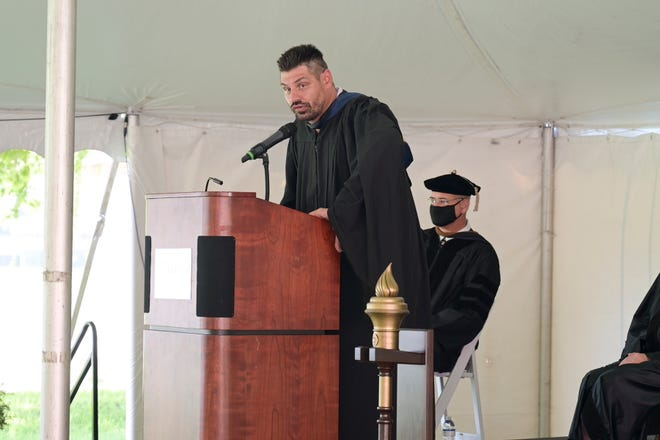 National Hockey League champion and 2010 Stanley Cup recipient Brent Sopel gave the convocation speech at Beacon College Monday morning to a group of 150 freshmen. [Cindy Peterson/Correspondent]