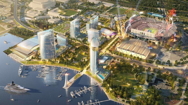 A rendering shows a vision for full build-out for an urban village around TIAA Bank field. Jaguars owner Shad Khan and The Cordish Companies are working to develop Lot J, but Khan's development rights to the Shipyards has lapsed. [Rendering provided]