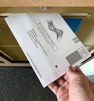 Casting my ballot in the Aug. 18, 2020 election.
