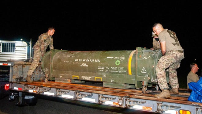 Members of the 6th Civil Engineer Squadron Explosive Ordnance Disposal team and the 6th Logistics Readiness Squadron worked to transport the live missile found at Lakeland Linder International Airport Friday night.