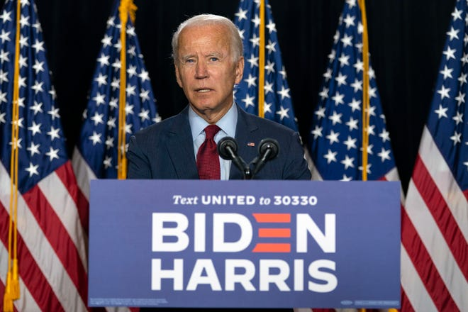 Democratic presidential candidate former Vice President Joe Biden speaks during a news conference on Aug. 13 at the Hotel DuPont in Wilmington, Del. [CAROLYN KASTER/THE ASSOCIATED PRESS]