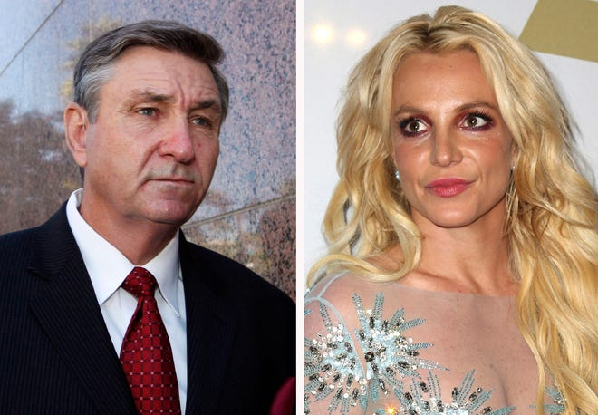 This combination photo shows Jamie Spears, left, father of Britney Spears, as he leaves the Stanley Mosk Courthouse in October 2012 in Los Angeles and Britney Spears at the Clive Davis and The Recording Academy Pre-Grammy Gala in February 2017 in Beverly Hills, Calif.. Britney Spears is asking a court to curb her father's control over her life and career.