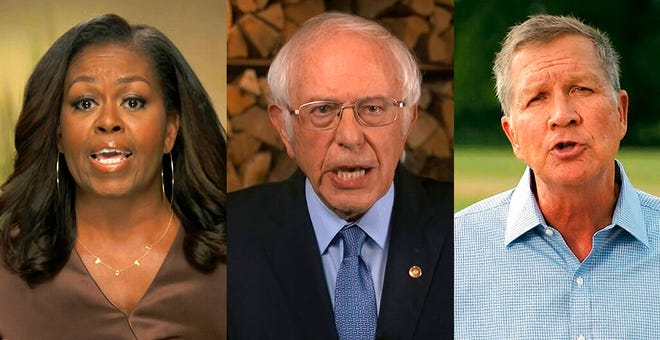 In this combination image from video, former first lady Michelle Obama, Sen. Bernie Sanders, I-Vt., and former Republican Ohio Gov. John Kasich speak during the first night of the Democratic National Convention on Monday, Aug. 17, 2020. (Democratic National Convention via AP)