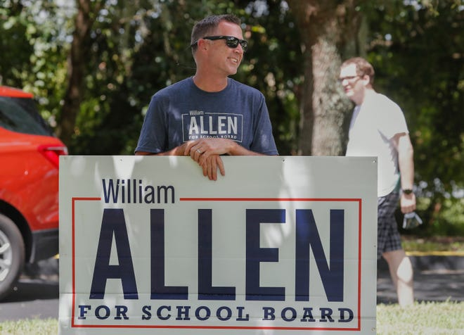 Political newcomer William Allen defeated incumbent Billy Townsend 52.33% to 47.67% to win the Polk County School Board District 1 seat Tuesday. [PIERRE DUCHARME/THE LEDGER]