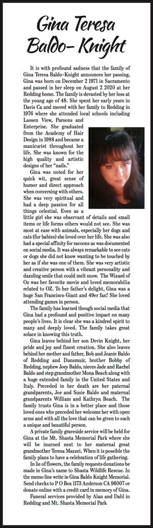 Obituary: Gina Teresa Baldo-Knight