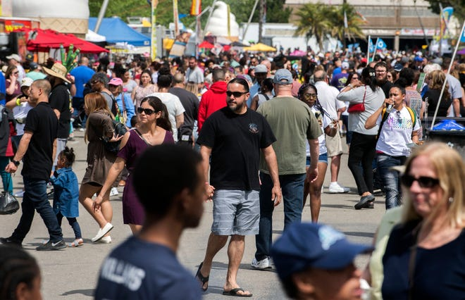 Crowds fill the San Joaquin County Fairgrounds for the annual Asparagus Festival in Stockton in 2019.