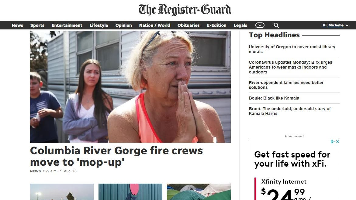The Register-Guard's website, registerguard.com, has been redesigned for faster loading and a better user experience.