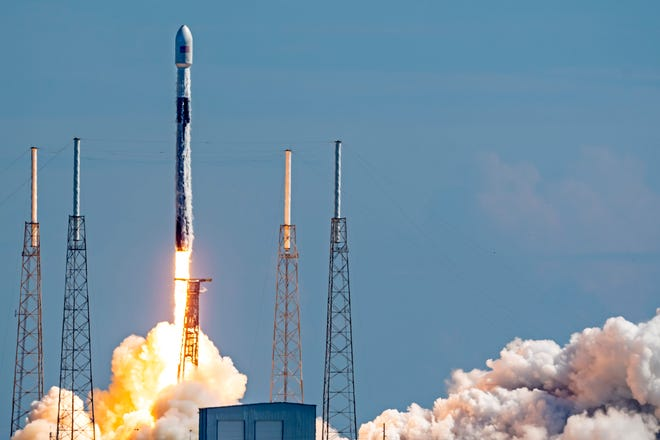 SpaceX Falcon 9 booster rocket (Booster B-1049) launches from Cape Canaveral Air Force Station Pad 40 carrying Starlink broadband satellites and Planet SkySat Earth-imaging satellites in Brevard County on Tuesday. This is a record sixth flight for this booster rocket and the 100th mission overall for SpaceX. [JOHN STUDWELL/CORRESPONDENT]