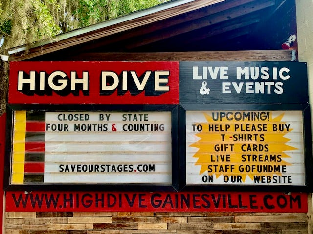 The sign outside the High Dive concert venue in Gainesville. [File photo]