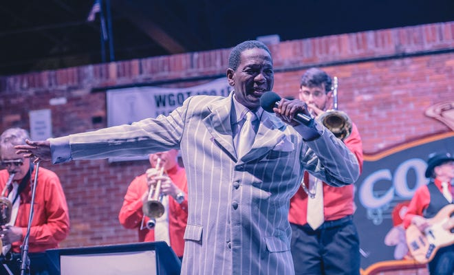 """""""Little Jake"""" Mitchell performs with his band The Soul Searchers on June 7, 2019, at the Bo Diddley Plaza to kick off a month of shows celebrating African American Music Appreciation Month as part of the Free Fridays Concert Series."""