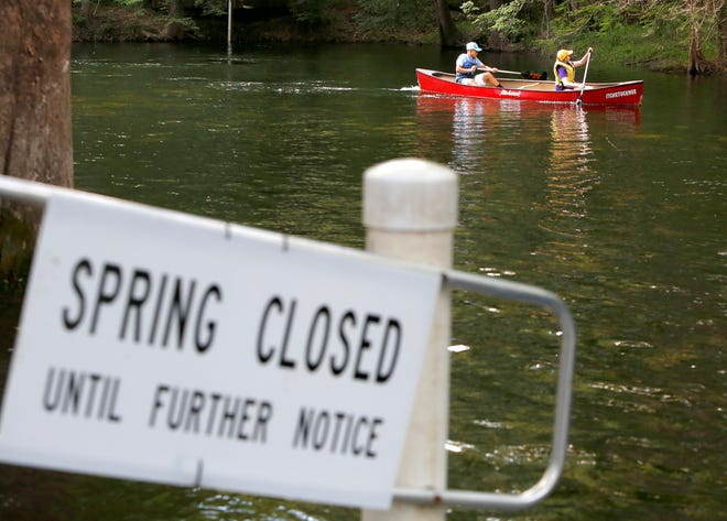 A canoe is shown at Poe Springs Park after the park was damaged by Hurricane Irma in September 2017. It was closed for initial repairs but reopened, but now will close again for more renovations. [Brad McClenny/Staff photographer/File]