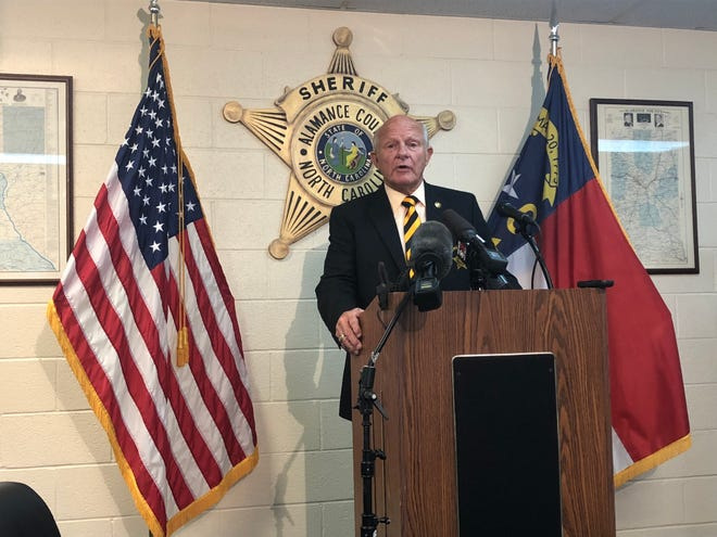 Sheriff Terry Johnson speaks at a press conference on July 31 about human trafficking arrests.