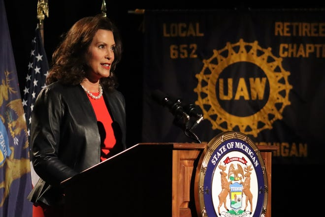 Michigan Gov. Gretchen Whitmer delivers a speech from Lansing for the 2020 Democratic National Convention on Monday, Aug. 17,2020.