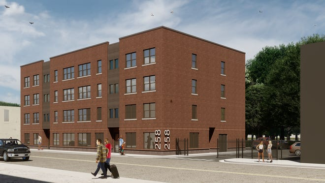 An artistic rendering of the Milwaukee Junction Apartments set to open May 2021. It will offer 20 affordable housing units near Detroit's New Center neighborhood.