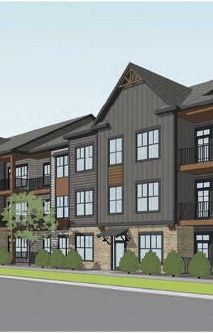 An artist's rendering of the proposed Watermark at Spring Creek apartments near the intersection of South Shields Street and Prospect Road in Fort Collins.