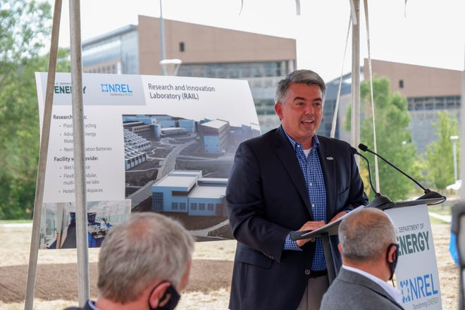 U.S. Sen. Cory Gardner speaks before the groundbreaking on a new research lab at NREL in Golden on Aug. 12, 2020.
