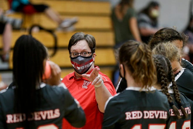 West Lafayette head coach Shari Bittles talks during a huddle during the third set of an IHSAA volleyball game, Monday, Aug. 17, 2020 in Rossville.