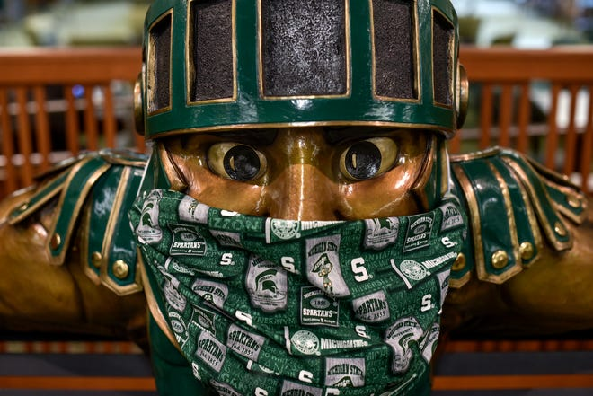 The Sparty inside the MSU Union is equipped with a mask photographed on Monday, Aug. 17, 2020, in East Lansing.